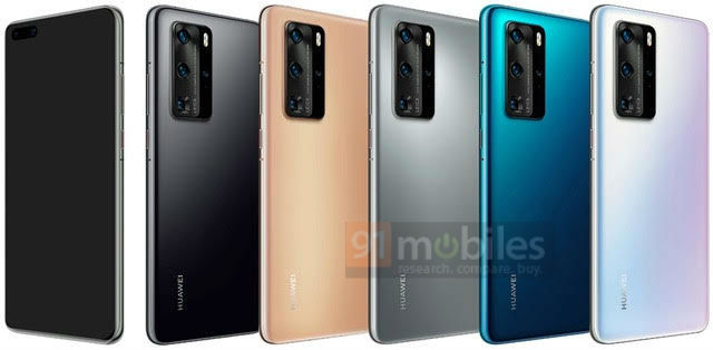 Huawei P40 and P40 Pro 4 colors render leaked