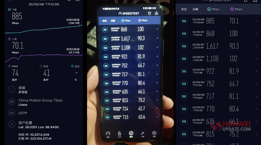 Honor X10 5G download speed reached 1617 Mbps
