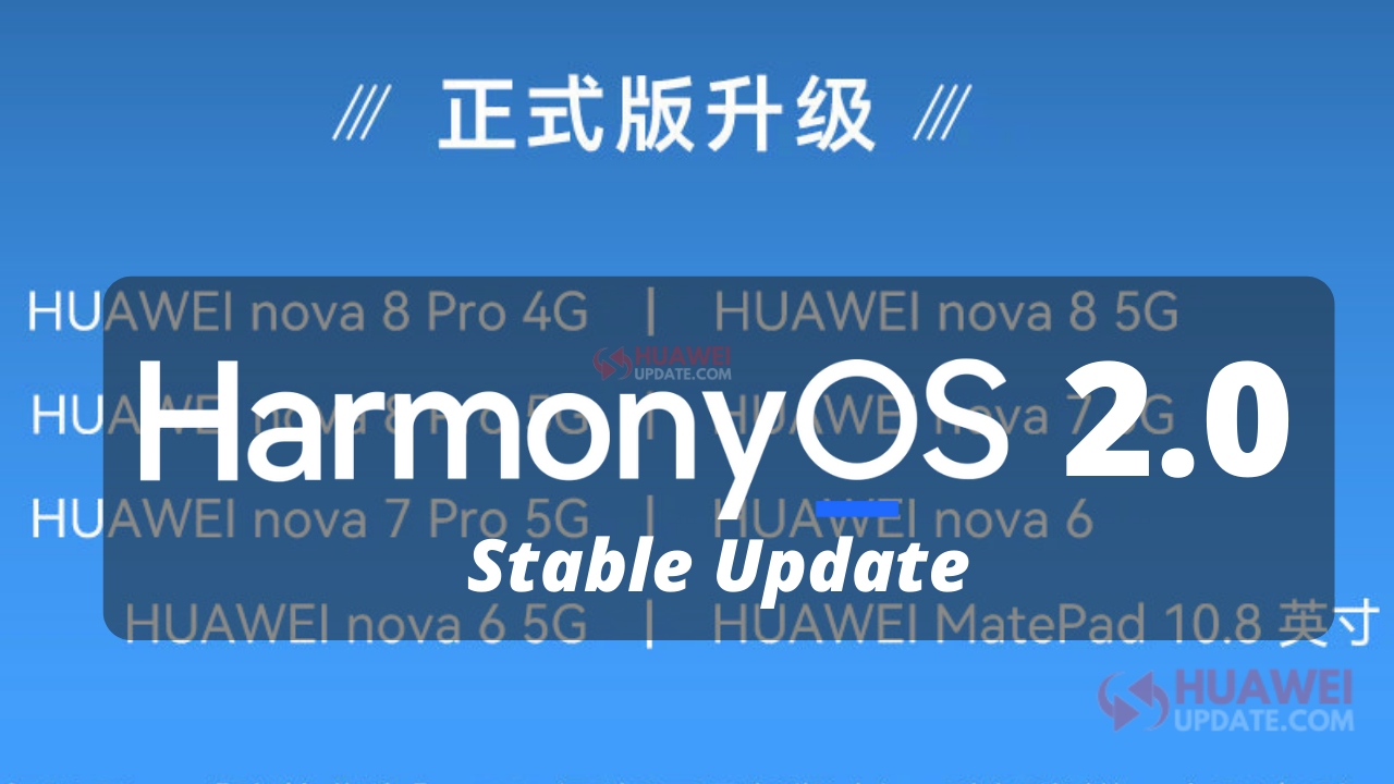 Huawei HarmonyOS 2 stable update 8 devices list